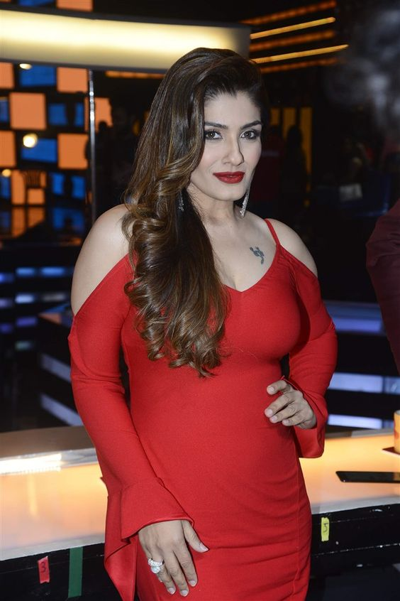 Actress Raveena Tandon Hot Red Dress Photos
